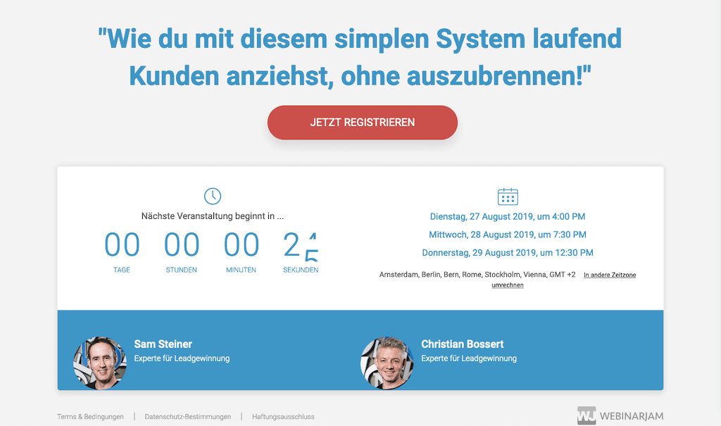 Screenshot Webinar Landingpage